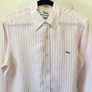 Harmont & Blaine Striped Mens Linen Button Down L